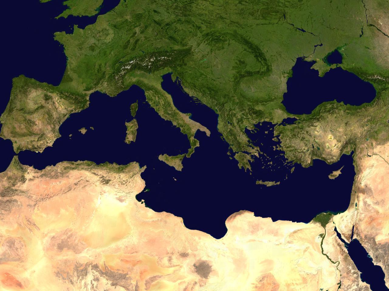 Satellite view of the Mediterranean
